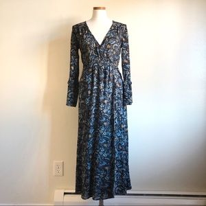 Urban Outfitters Blue Floral Wrap Maxi Dress